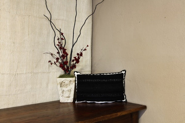 Black Boiled Wool Embroidered Pillow Cover