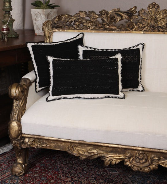 Black Boiled Wool and Linen Embroidered Pillow Cover