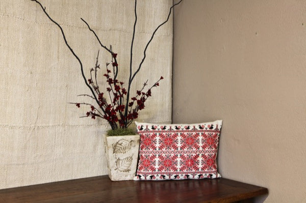 Antique Turul Red and Black Linen Pillow Cover