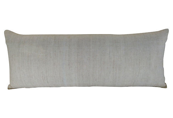 Embroidered Bolster with Antique Panel