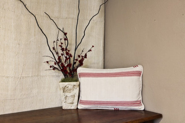 Red Striped Linen Pillow Cover