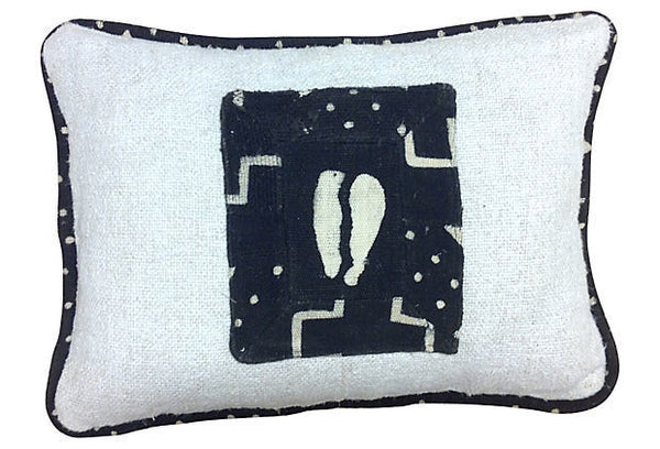 Corded African Mud Cloth Pillow Cover