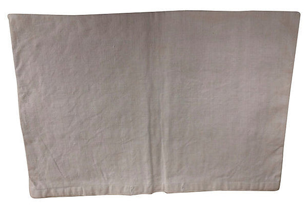 Antique Linen Embroidered Pillow Cover