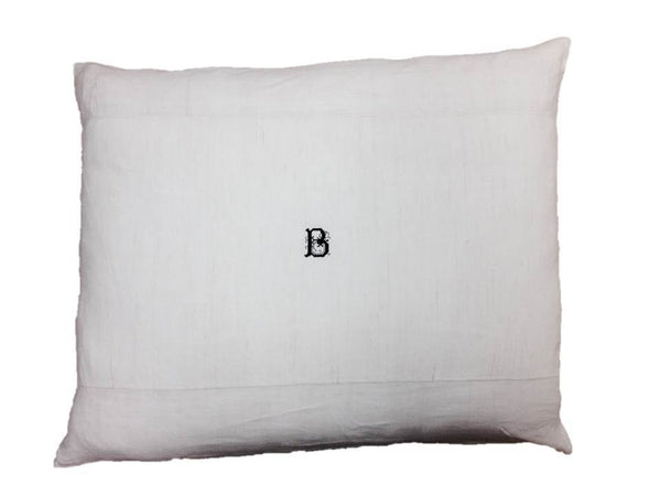 Monogrammed Antique Hand-Loomed B Linen Pillow Cover