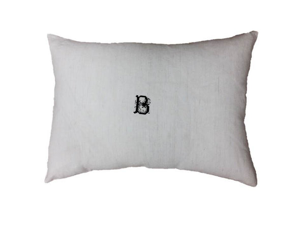 Monogrammed Antique Hand-Loomed B Linen Pillow Color