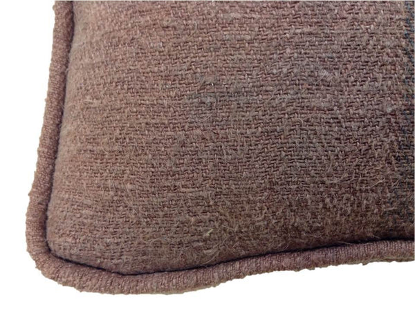 Cocoa Antique Hand-Loomed Pillow with Dark Brown Stripes