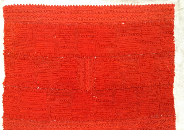 Antique Boiled Wool Orange Embroidered Linen Pillow Cover