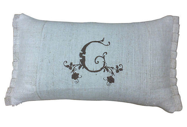 Antique Monogrammed G Hand-Loomed Pillow Cover