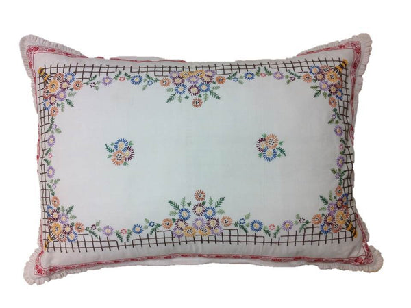 Multi-Color Floral Linen Pillow Cover