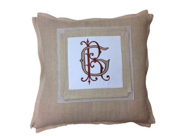 Antique Hand-Loomed Bronze GR Monogrammed Pillow Cover