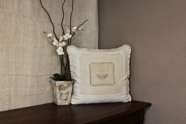 Antique Monogrammed Pillow Cover with Leaf Motif