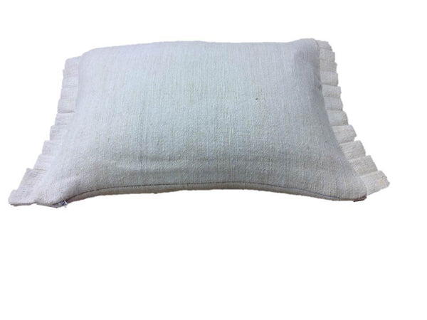 Antique Hand-Loomed Linen Pillow Cover with White Greek Key Design