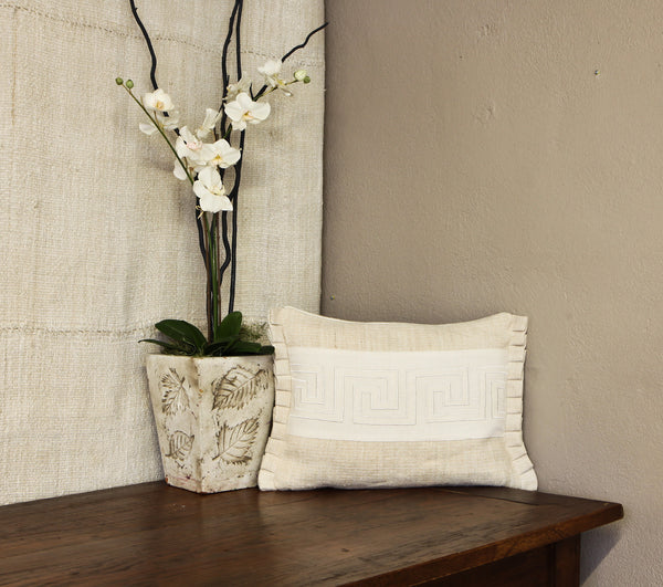 Antique Hand-Loomed Linen Pillow Cover with Ivory Greek Key Design