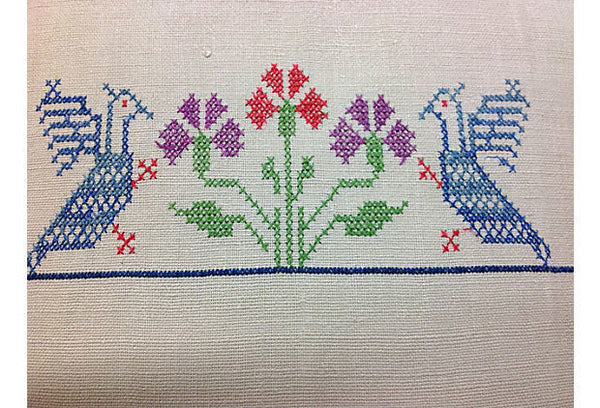 Cross-Stitched Linen Pillow Cover with Floral Design