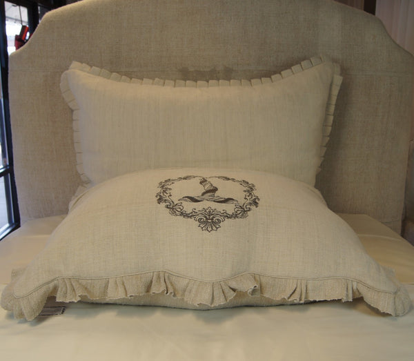 Antique Hand-Loomed Linen T Monogrammed Pillow Cover