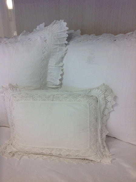 Antique White Linen Sham with Crochet Inserts and Lace Edges