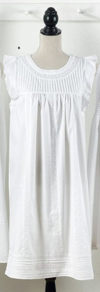 Scalloped Sleeve Rose Embroidered Nightgown
