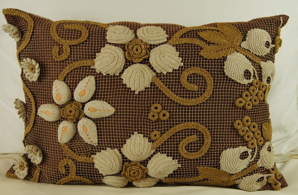 Antique Raised Flower Linen Pillow Cover