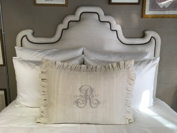Ruffled Linen Euroking Pillow with R monogram