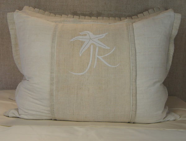 Linen Pillow Cover with JK Starfish Design