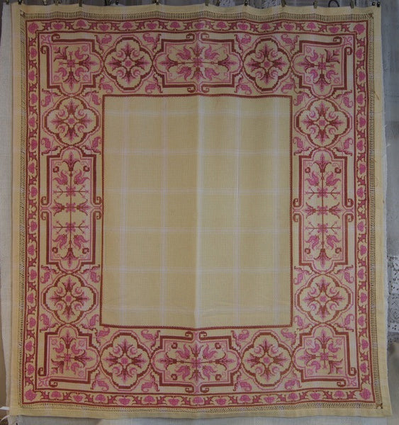 Antique Red and Pink Cross-Stitched Tablecloth