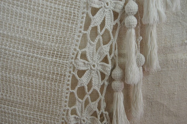 Antique French Bedcoverlet with Eight-Inch Fringe