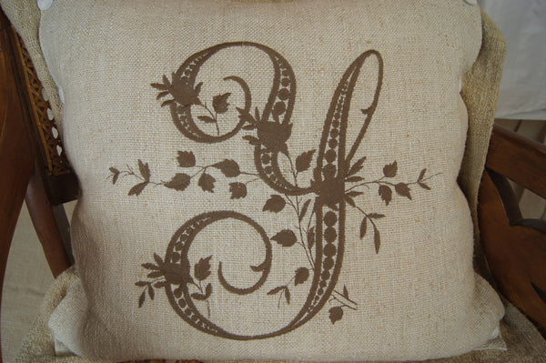 Hand-Loomed Linen Y Monogramed Pillow Cover