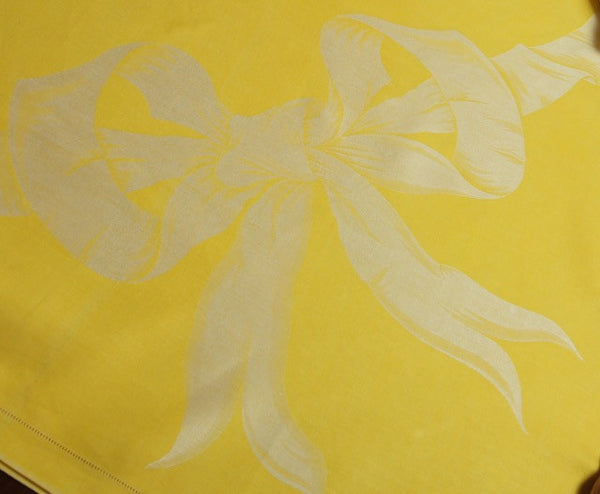 Yellow Damask Tablecloth with Ivory Bow Detail