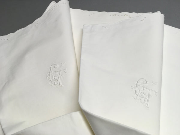 """CsT"" EUROPEAN STANDARD sham PAIR Hand Made Cotton"