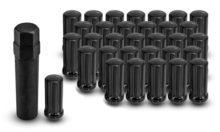 Off-Road Truck Large Diameter Spline Lug Nuts Black