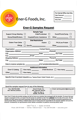 Ener-G Sample Request Form – Ener-G Foods on complaint form sample, admission form sample, company profile sample, privacy policy sample, enquiry form sample, registration form sample, feedback form sample, contact information form sample,