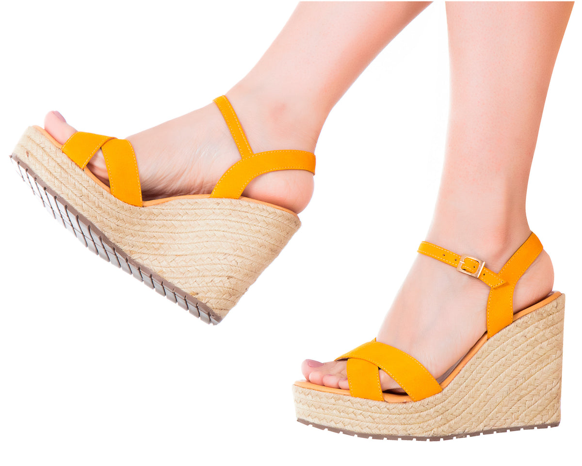 dc4140ef093 Espadrilles Sandals Criss Cross Yellow - Vida Leather