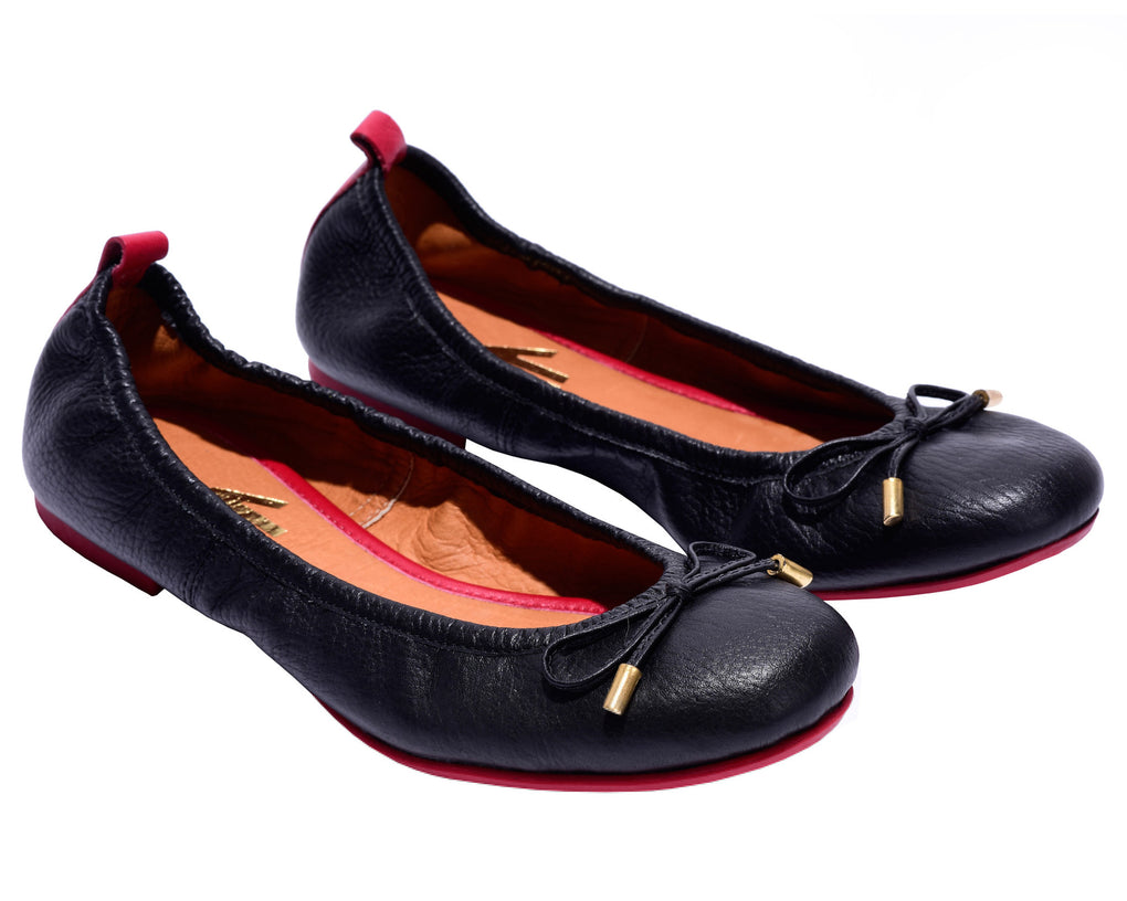 The Daily Black Leather Ballerina Flats