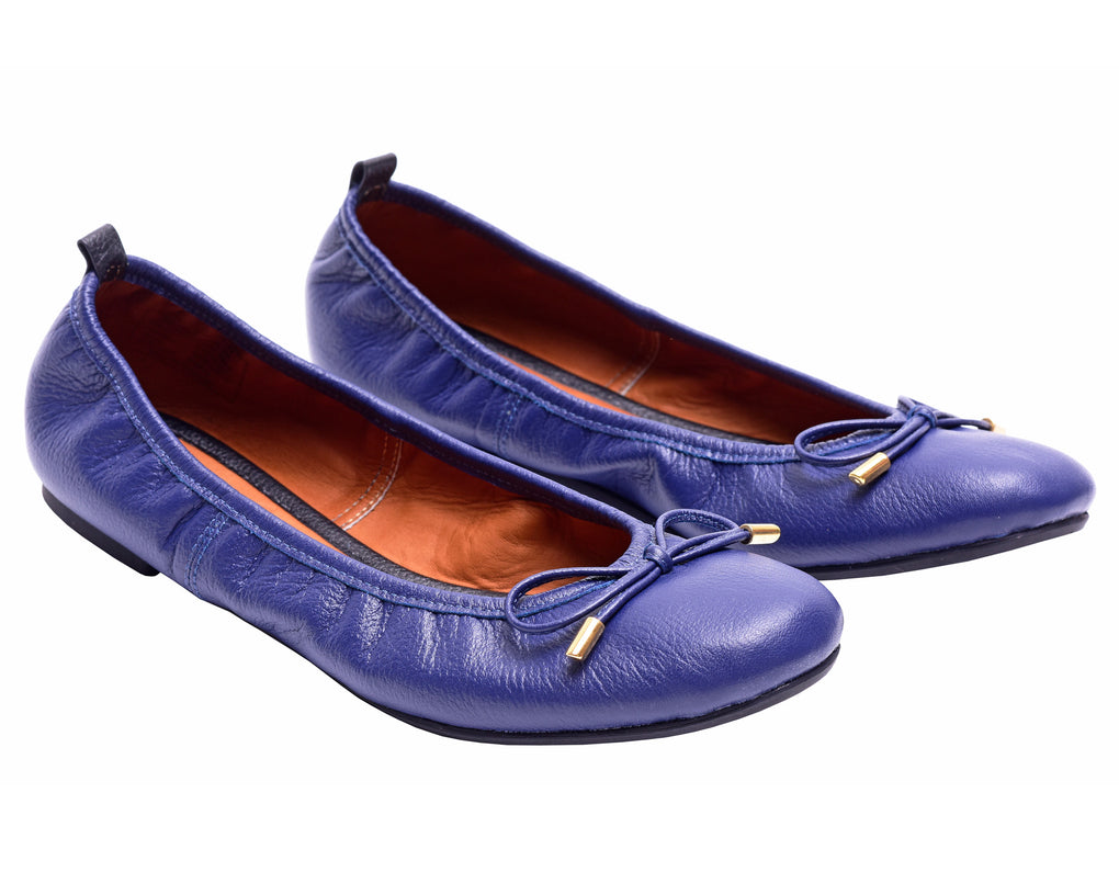 The Daily Blue Womens Leather Flats