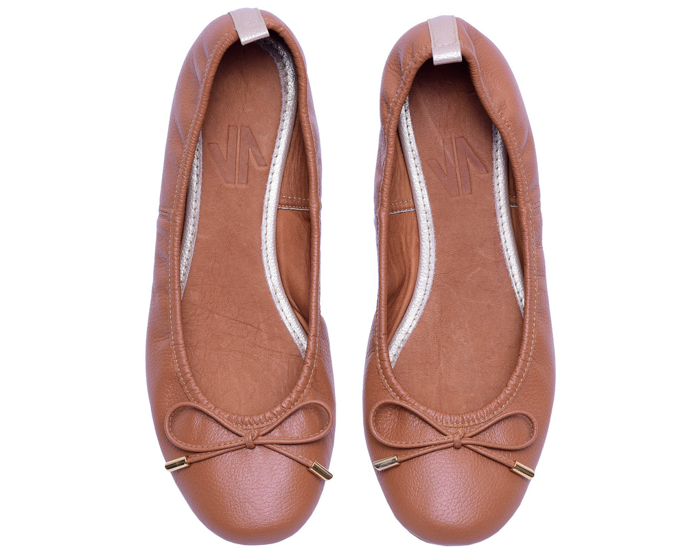 The Daily Brown Womens Leather Flats