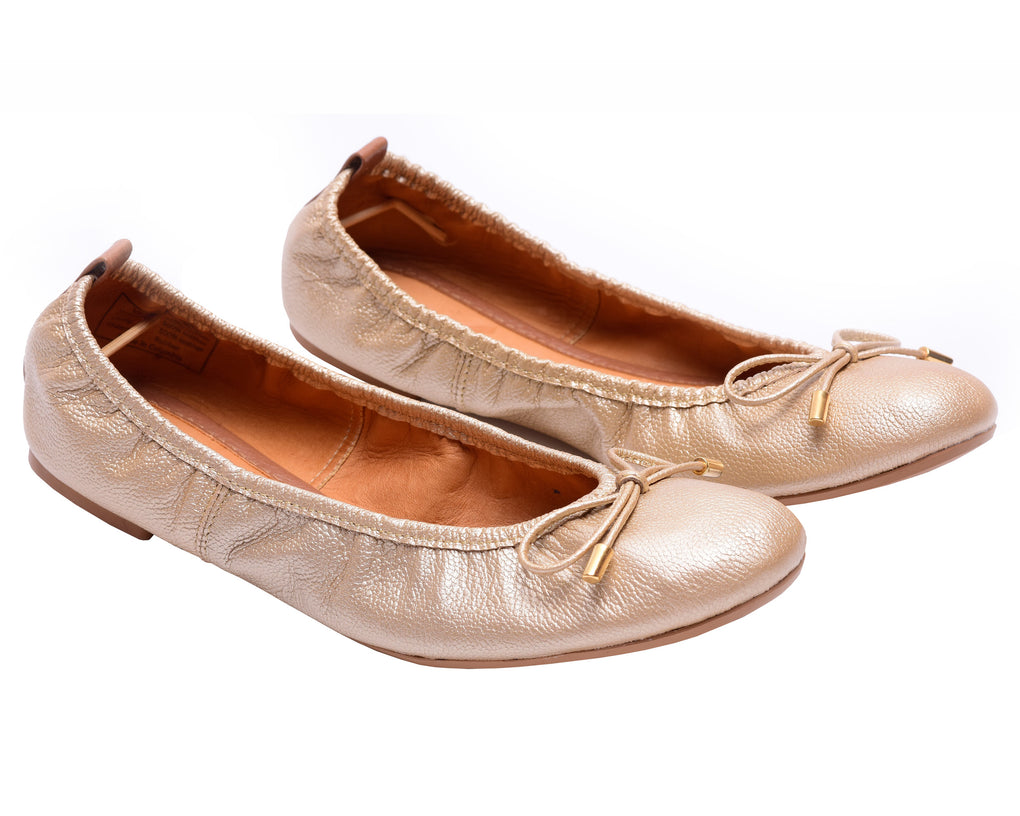 The Daily Gold Womens Leather Flats