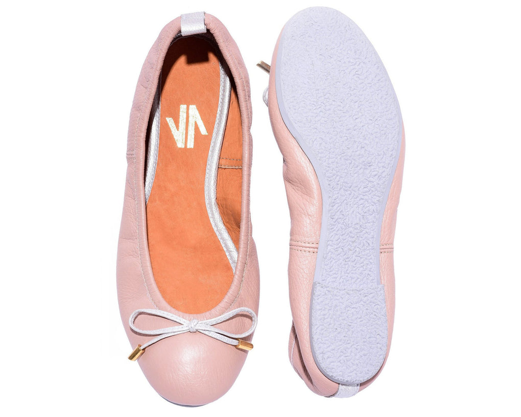 The Daily Nude Leather Ballerina Flats