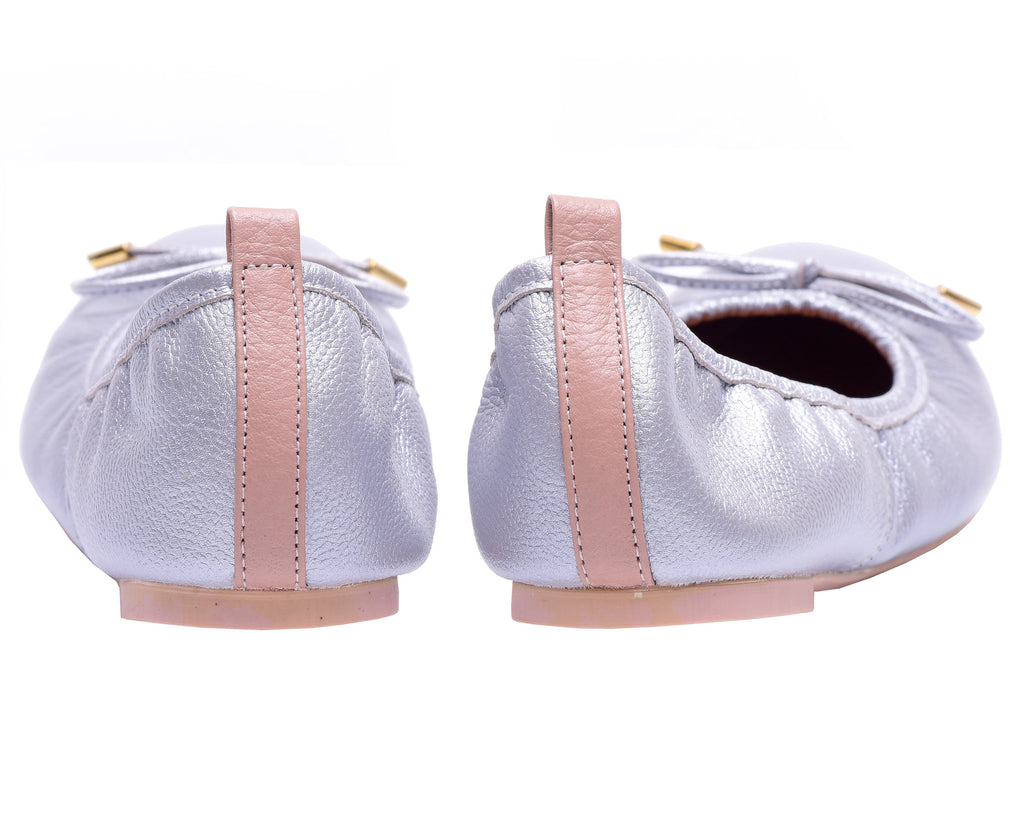The Daily Silver Womens Leather Flats