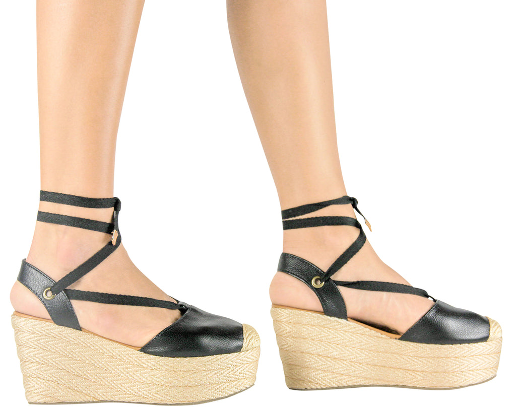 Espadrille Sandals Silvia Cobos Lace Up Leather Black