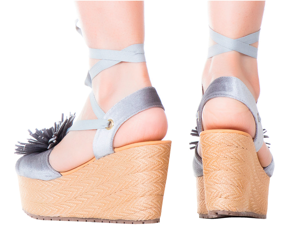 Espadrille Sandals Silvia Cobos Lace Up Silver