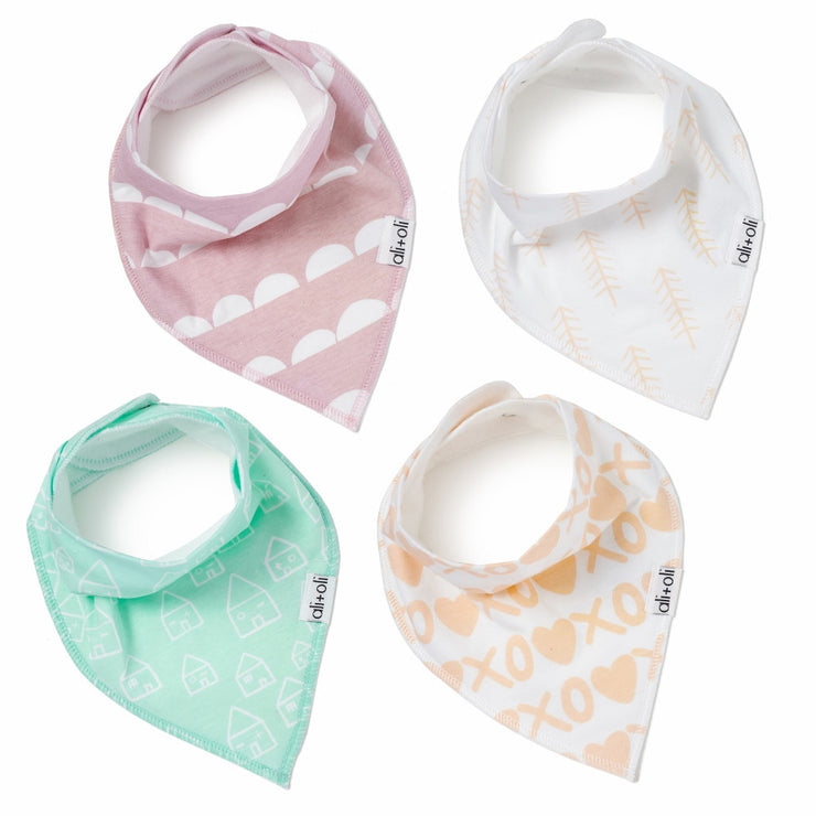 Baby Bandana Bibs for Girls Set of 4 - Liapela.com | Modern Baby Products