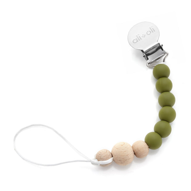 Ali+Oli Silicone Pacifier Clip for Baby in Thin Army Green