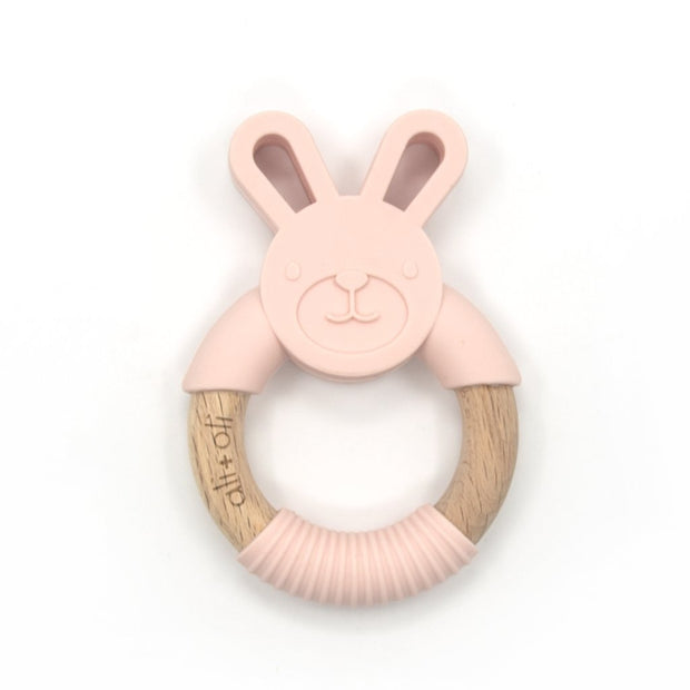 Baby Teether Toy Wood and Silicone Bunny in Pink Blush by Ali+Oli