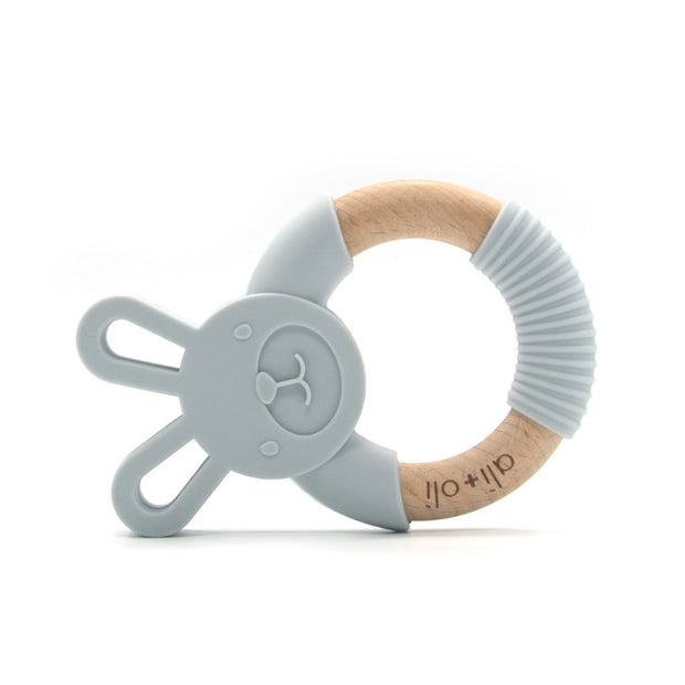 Baby Teether Toy Wood and Silicone Bunny in Light Grey by Ali+Oli