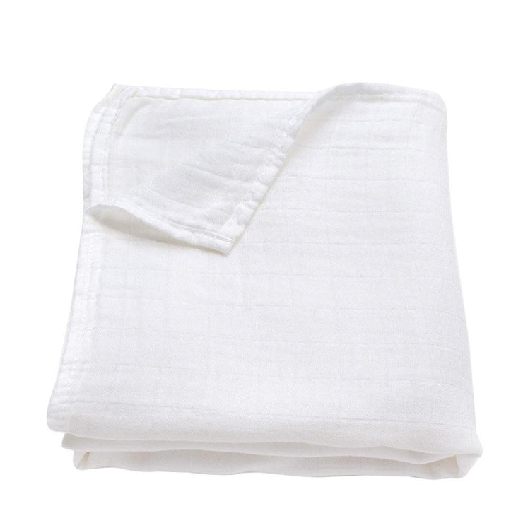 Baby Muslin swaddle blanket in pure white bamboo and organic cotton