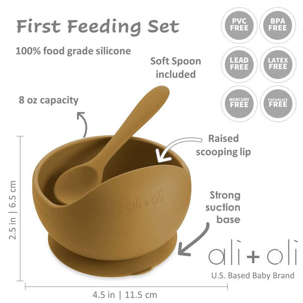Ali+Oli Suction Bowl & Spoon Set (Harvest)