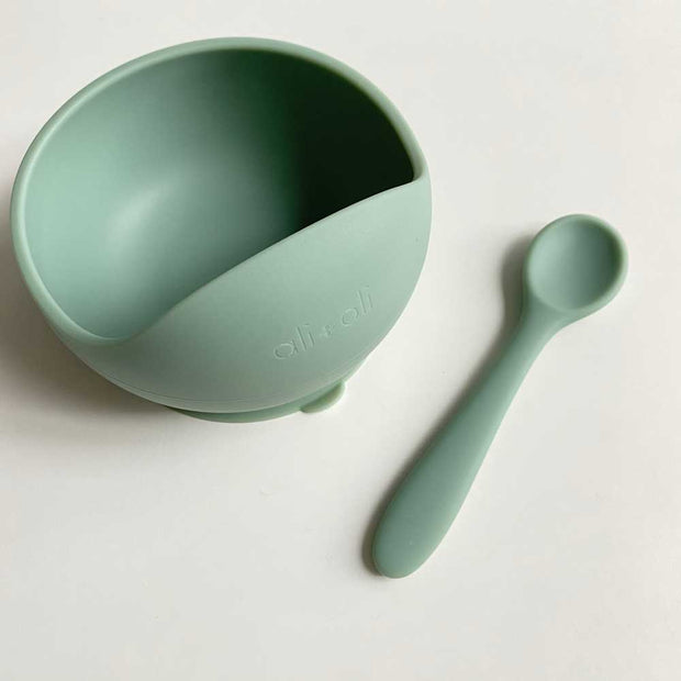 Ali+Oli Suction Bowl & Spoon Set (Mint)