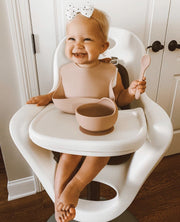 Silicone Suction Bowl for Baby + Spoon (Blush)