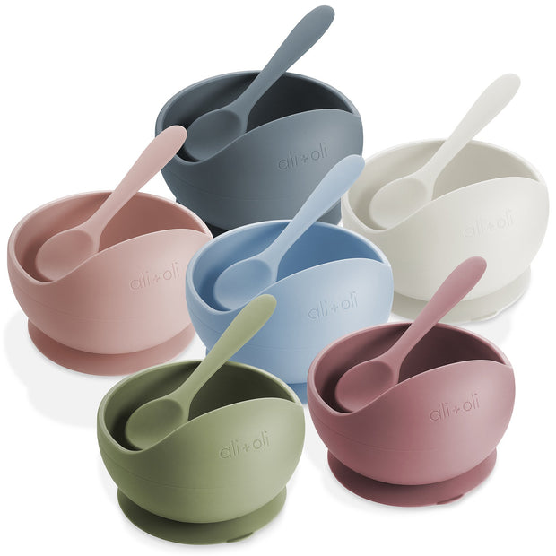 Ali+Oli Suction Bowl & Spoon Set (Mauve)