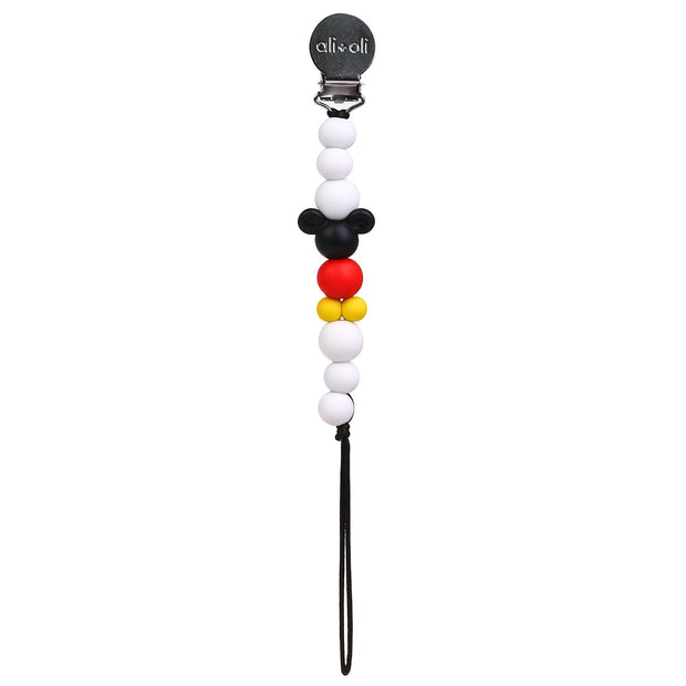 Ali+Oli Silicone Pacifier Clip for Baby - Black Mouse